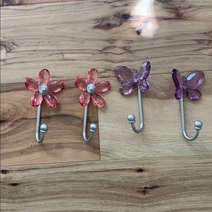 Pottery Barn Kids hooks: flowers/butterflies